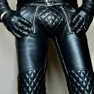 Mens Pure Genuine Leather Black Quilted Pants for Men Motorcycle Best