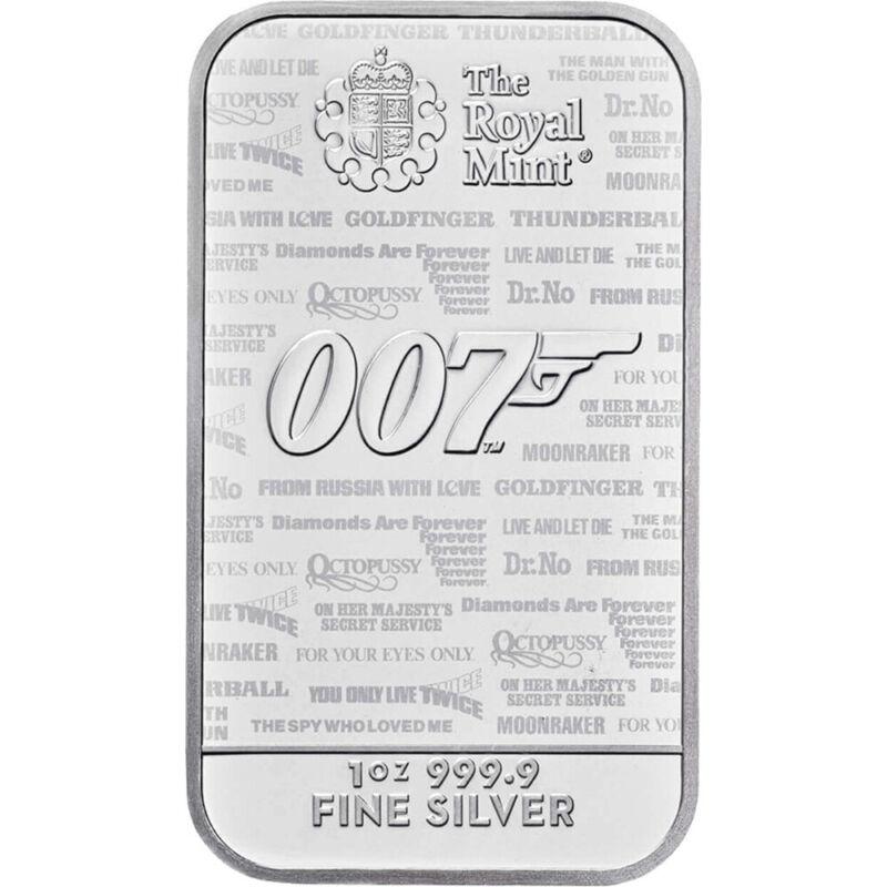 1 oz Silver Bar - Royal Mint - James Bond 007 No Time To Die 999.9 Fine