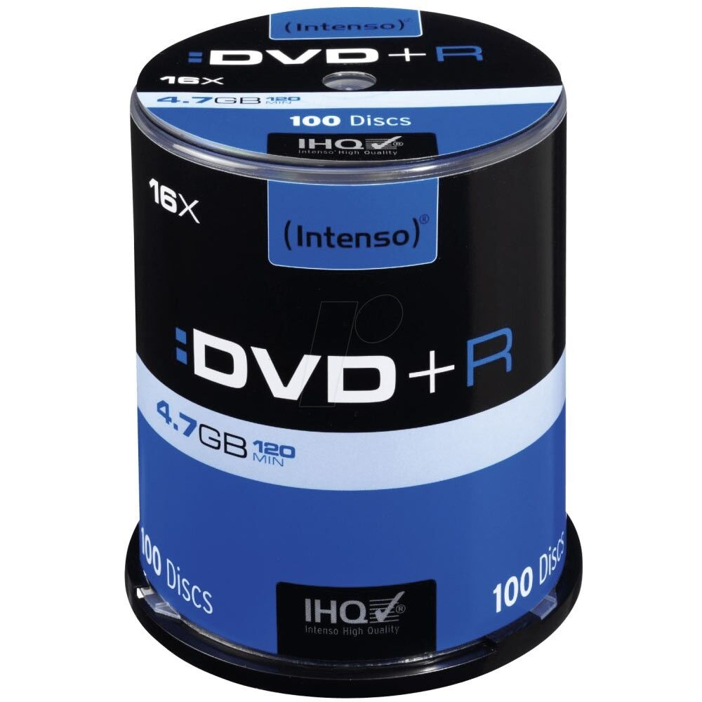 Intenso DVD+R 16x Geschwindigkeit 4,7GB DVD-Rohlinge 4111156 NEU (100er Spindel)