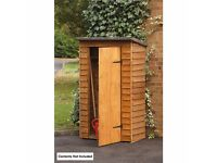 FOREST OVERLAP APEX TOOL STORE - W 118cm x H 185cm x D 67cm -SMALL GARDEN BALCONY SHED - LARCHLAP