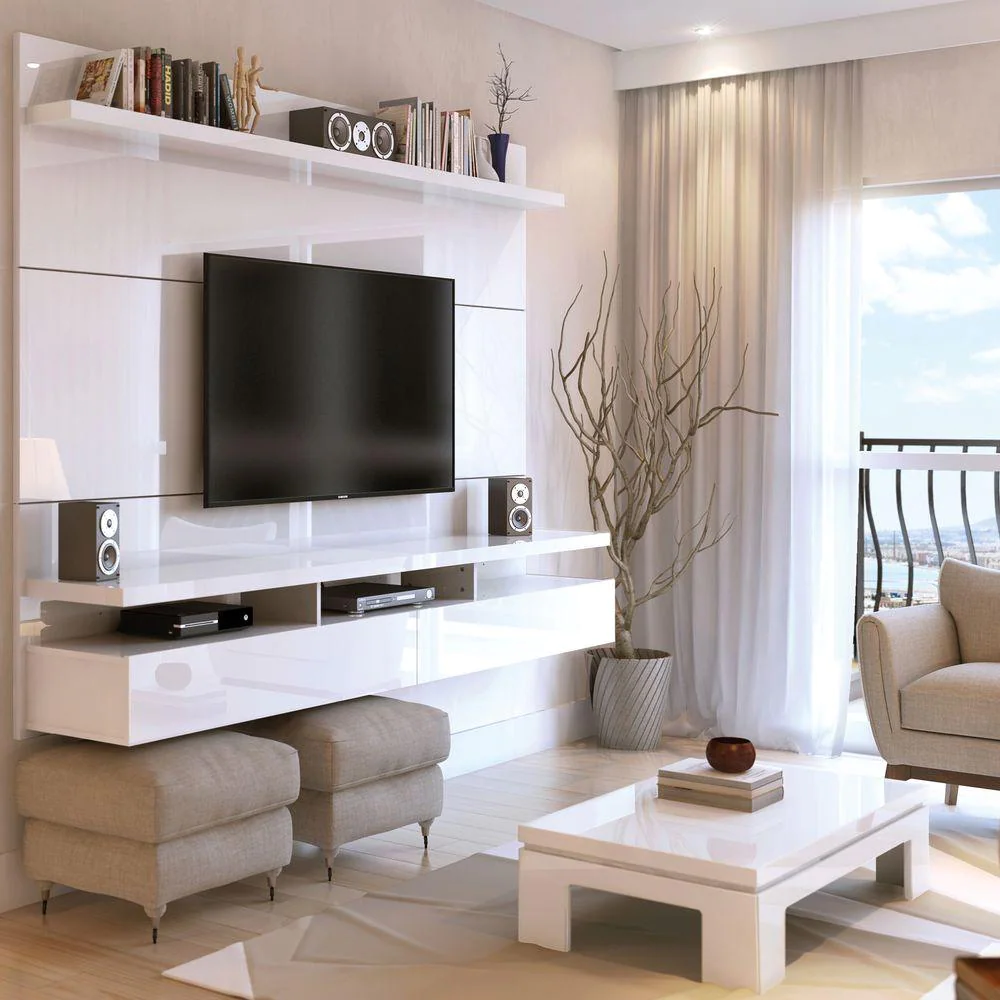 White Gloss Composite Floating Entertainment Center Fits TVs