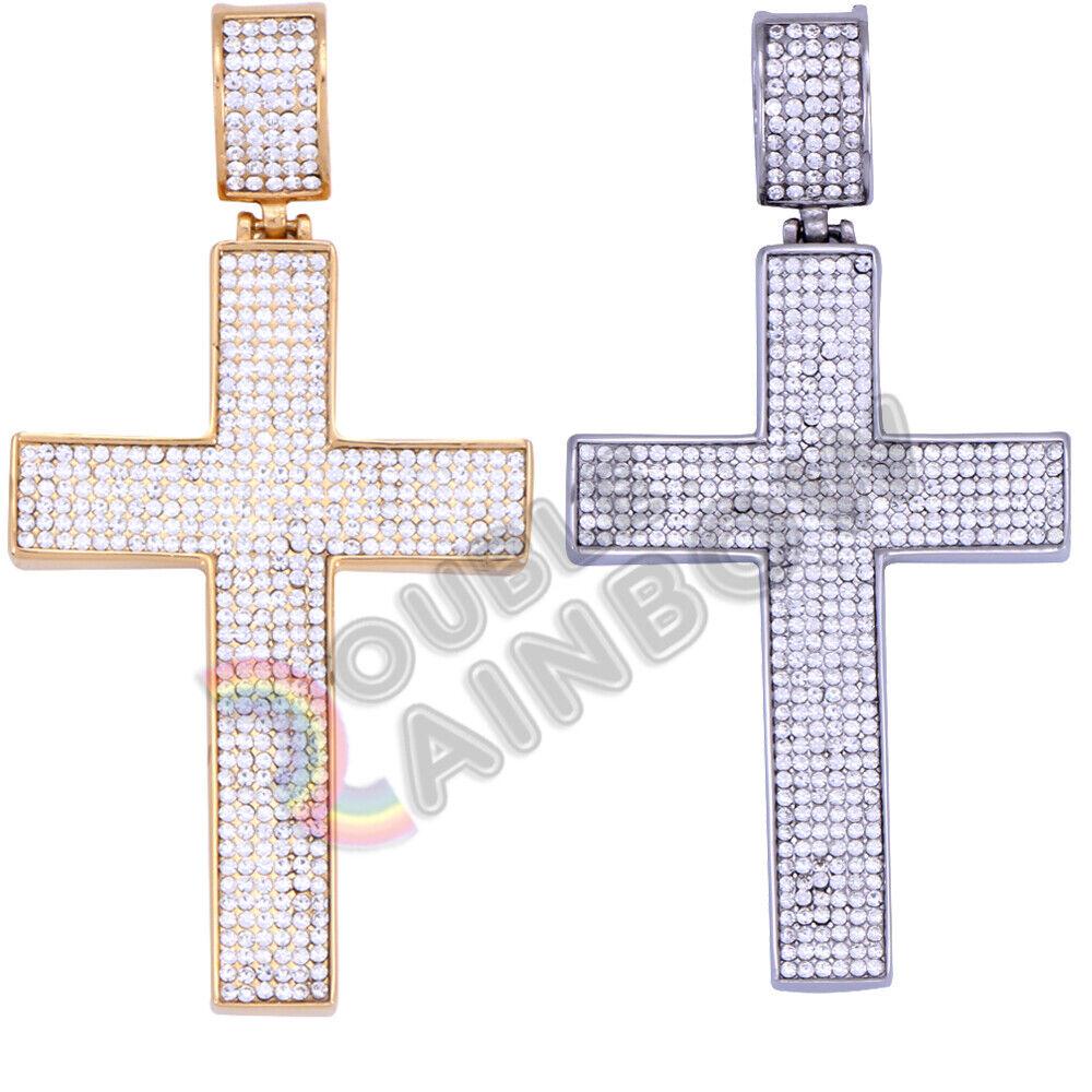Men's Stainless Steel Gold Silver Diamond Bling Cross Pendan