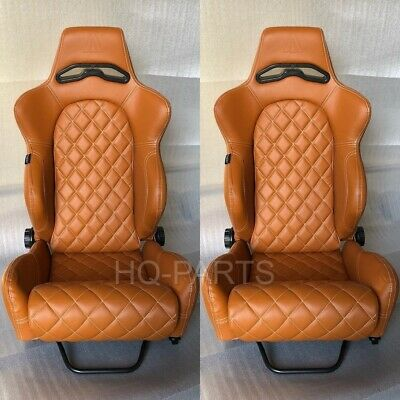 2 X TANAKA TAN PVC LEATHER RACING SEATS RECLINABLE + DIAMOND STITCH FITS VW segunda mano  Embacar hacia Mexico
