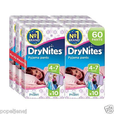 Huggies DryNites Girls Pants 4-7 Years Pyjama Pants Pack of 6 Total 60 Pants NEW