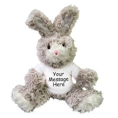 Personalized Stuffed Rabbit - 13 inch Fuzzy Plush Easter Bunny