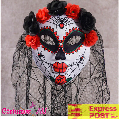 Laidies Day of the Dead Mask Halloween Sugar Skull Costume Ghost Bride Skeleton