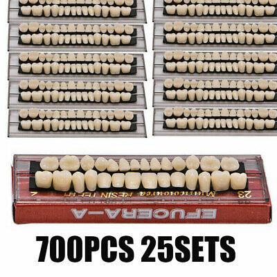 700pcs Denture 23 Shade A2 Acrylic Resin Full Set Teeth Upper Lower Dental 25set