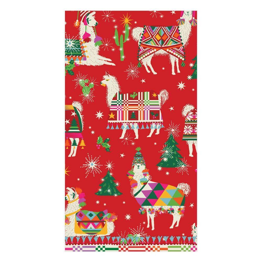 Caspari Hello Dolli Red Llama Paper Guest Towels / Christmas