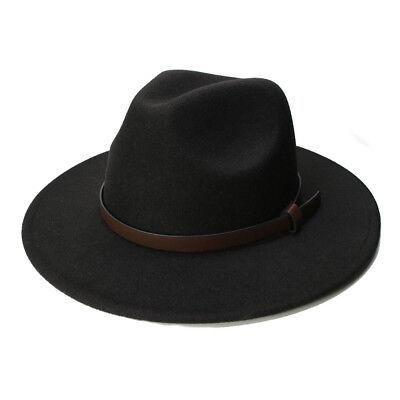 Bowler Hat Kids (Kid Wool Felt Wide Brim Cap Fedora Panama Jazz Bowler Hat Brown Leather)