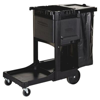 Rubbermaid Janitor Cart 21.8x46x38 In Utility Hook Collection Bag Cleaning Black