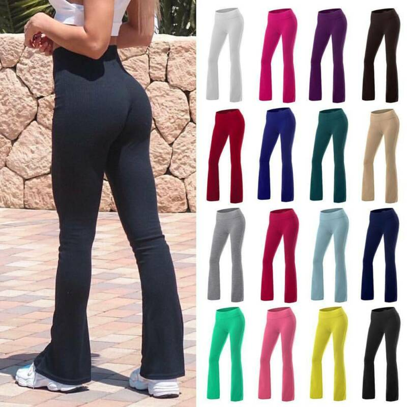 Women Bootcut Yoga Pants Bootleg Flared Trousers Casual Fitn