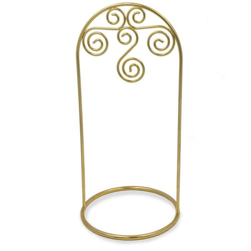 Gold Tone Metal Swirl Arch Ornament Stand Display 7.75 Inches