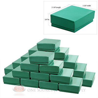 """25 Teal Blue Cotton Filled Jewelry Gift Boxes 2 1/8"""" X 1 5/8"""" Pendant Charm"""