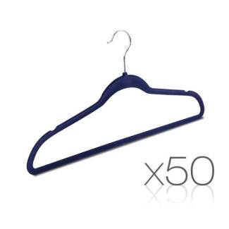Set of 50 Slim Navy Velvet Hangers