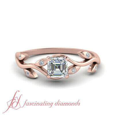 3/4 Carat Asscher Cut Diamond Nature Inspired Engagement Ring In 14K Rose Gold
