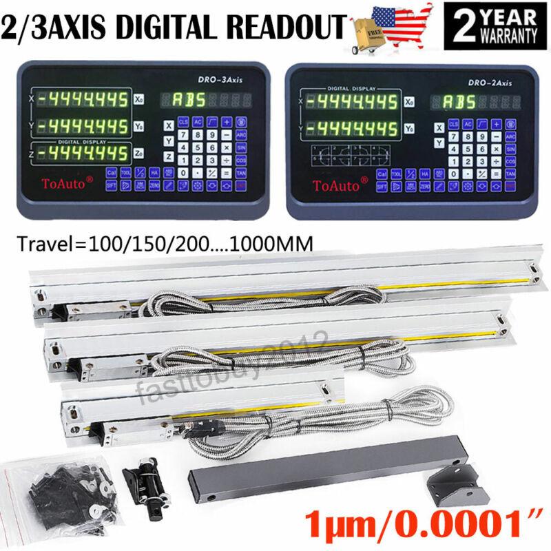1μm Linear Glass Scale 2/3 Axis Digital Readout DRO Display Kit Milling Lathe US
