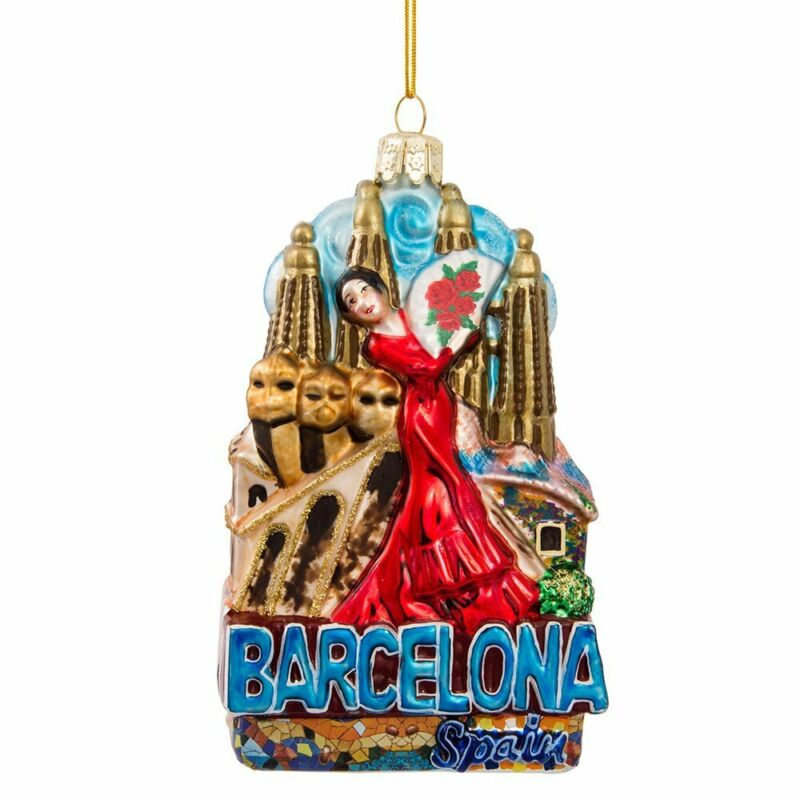 Barcelona Spain Cityscape Glass Christmas Tree Ornament Decoration C7568 New
