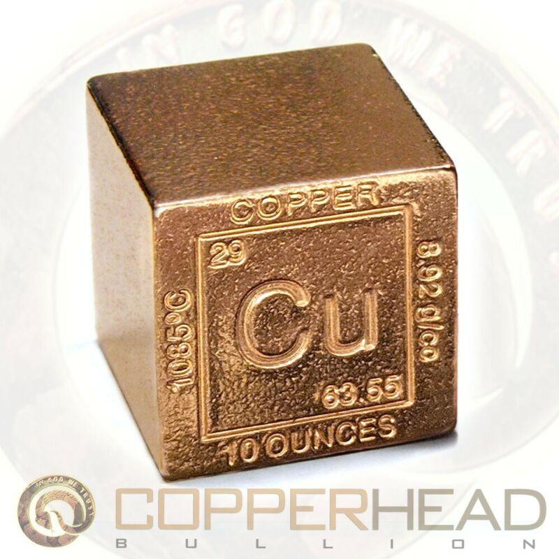 """1.25"""" Inch (10 oz) Copper Bullion Cube Element Design .999 Fine Square Bar 1/4"""