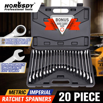 20pc Ratcheting Combination Wrench Set SAE Inch Imperial Metric MM Tool With...