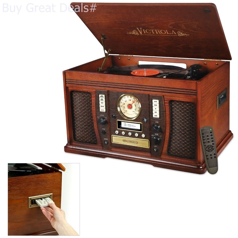Victrola Nostalgic Aviator Wood 8-in-1 Bluetooth Turntable Entertainment Center,