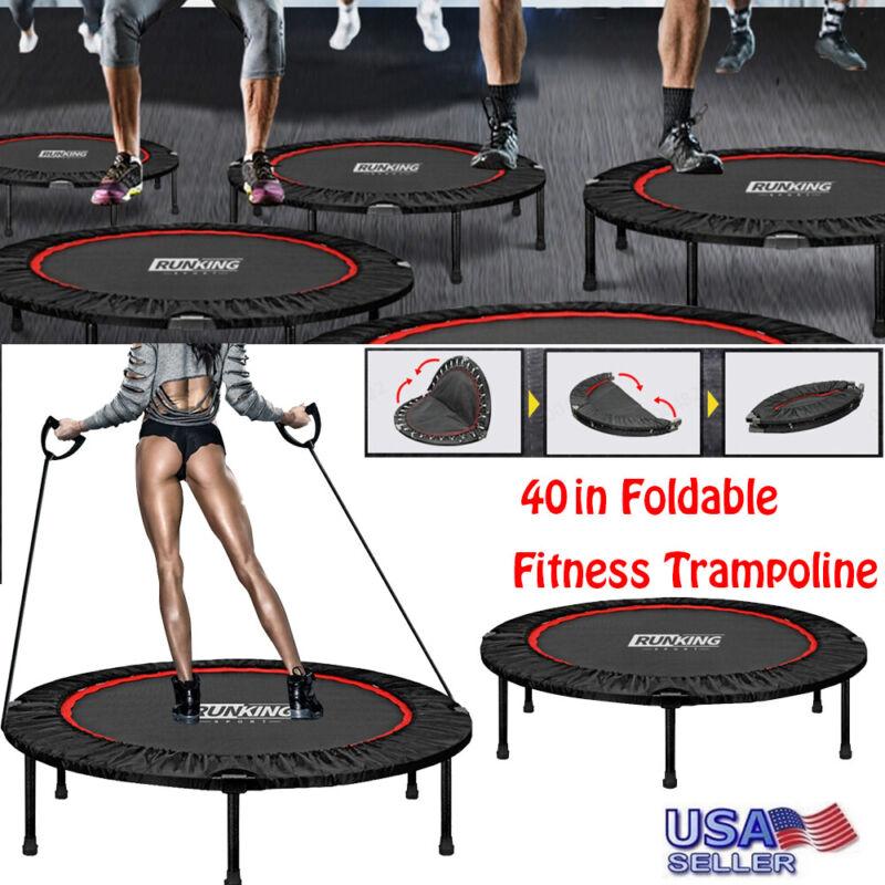 40in Foldable Mini Fitness Trampoline Rebounder Exercise Wor