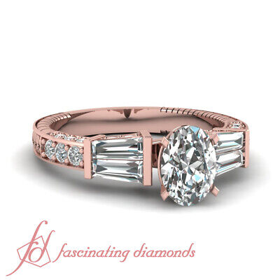 1.50 Ct Oval Shaped Diamond With Tapered Baguette Accented Engagement Ring GIA