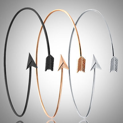 Bohemian Women Adjustable Upper Arm Cuff Open Bangle Arrow - Arm Cuffs