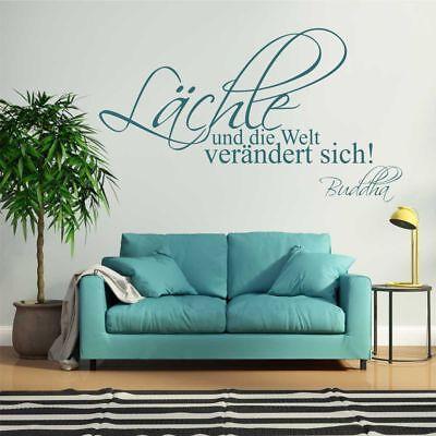 119 Wand (Wandtattoo Wandsticker Wandaufkleber Wohnzimmer Lächle und die Welt Buddah WT119)