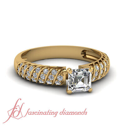 1 Ct Diamond Rings For Women With Asscher Cut And Round Accents GIA Certified