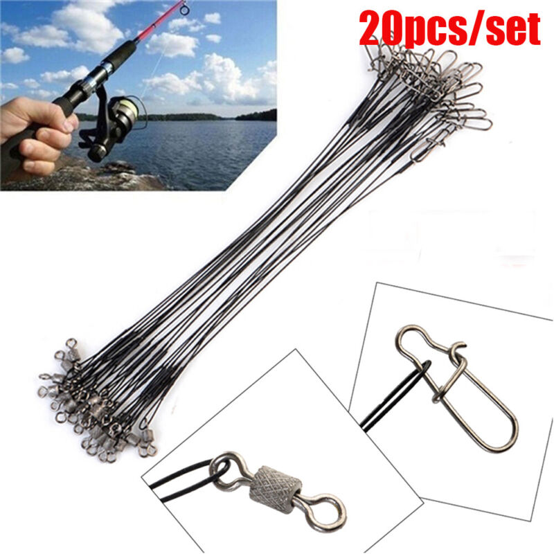 Steel String Rope Wire Safety Snap Wire Leader With Swivel  Fishing Lead Line