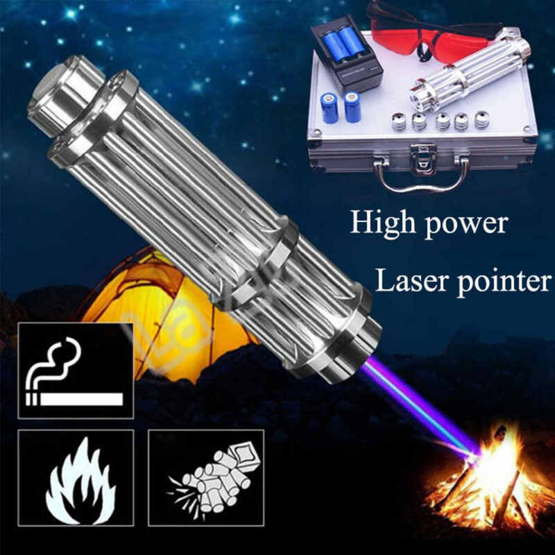 High Power 450nm Blue Laser Burning Light Adjustable Focus Visible Beam Pen USA