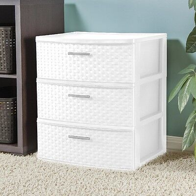 كومودينو جديد White Storage Unit Organizer Chest Cabinet 3 Drawer Bed Room Bath Dorm Dresser