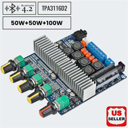 Bluetooth TPA3116 Power Amplifier Board Digital HIFI Module 12-24V 100W+50W+50W Amplifier Parts & Components