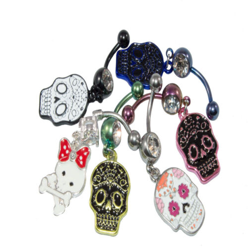 Belly Rings Dangling Sugar Skull Pack of 6 Assortment Colors and Design 14G