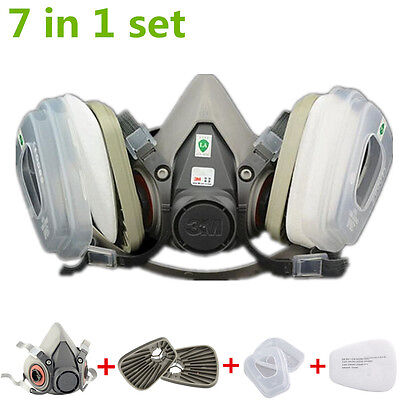 US 7Pcs in 1 half Face Mask For 3M 6200 Gas Painting Spray Protection Respirator