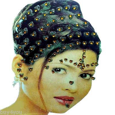 Bollywood Bindis Indisch Haarschmuck Kopfschmuck Strass Hochzeit Karneval orange