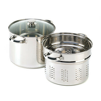 MULTI-PURPOSE 8 QUART PASTA COOKER, STOCK POT & STEAMER COMBO SET