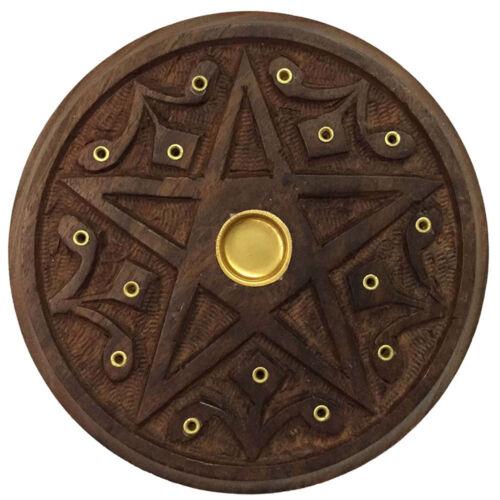 """NEW Wooden Pentacle Altar Tile or Incense Burner 5"""" Carved Wood Wicca Pagan"""