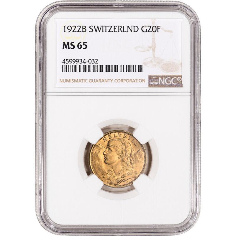 1922 B Switzerland Gold 20 Francs - NGC MS65