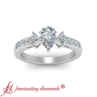 2 Carat Pear Shaped And Princess Diamond Simple Channel Set Engagement Ring GIA 1