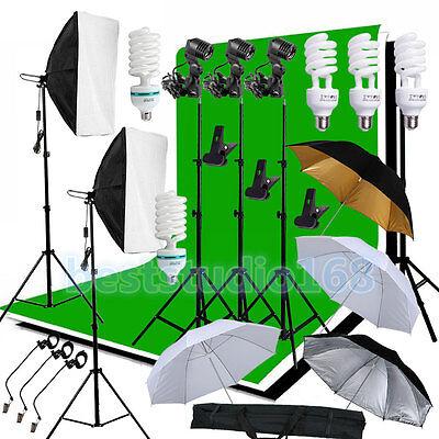 Photog Studio Softbox Lighting Kit Backdrop Umbrella Background Light Stand Set