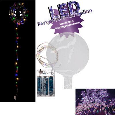 Folien Luftballon Ballon mit Lichterkette 30 LED´s Bunt Hochzeit Geburstag Party