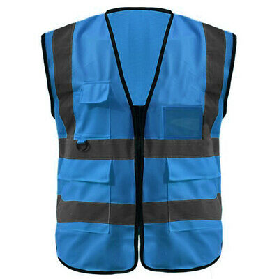Toptie Muti Pockets High Visibility Construction Safety Vest Blue