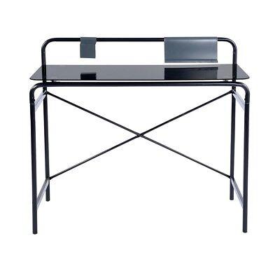 Glass Metal Computer Desk (Vintage Temper Glass Work Writing Desk Black Retro Computer Table Metal Station )