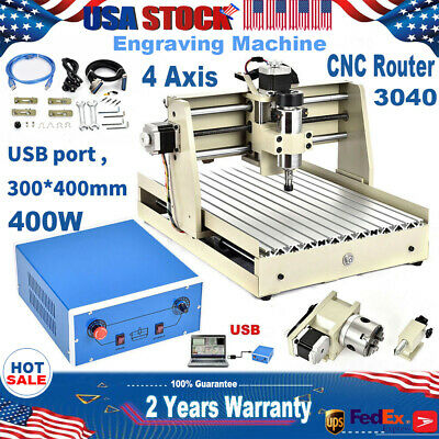 Usb 4 Axis 400w Cnc 3040 Router Engraver Machine Drilling Diy Carving Cutter