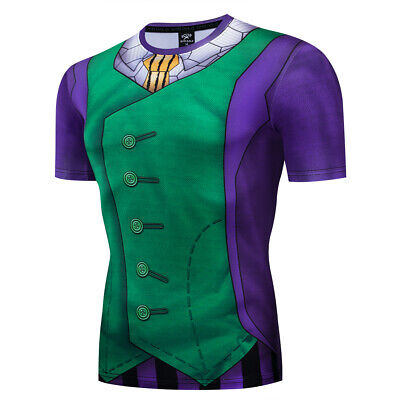 Men's Batman Joker Costume Cosplay Compression Tight Gym Workout Fitness T-shirt
