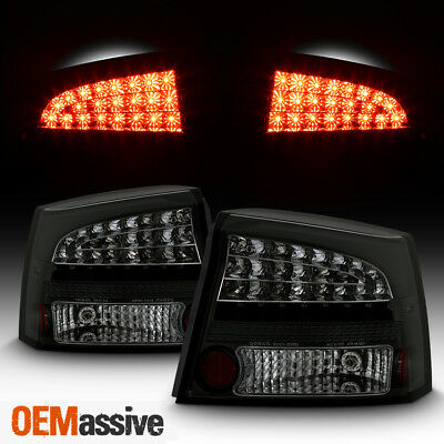 Fits 2006-2008 Charger Black Smoked Philips-LED Perform Tail Lights Brake Lamps