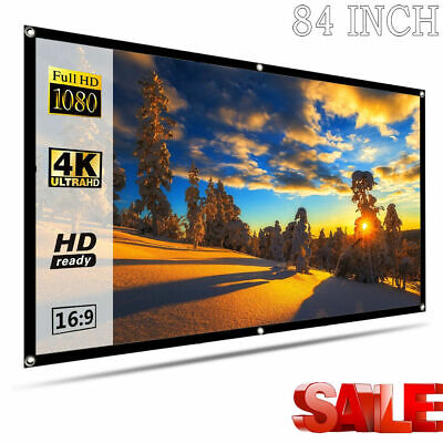 84 INCH Portable Foldable Projector Screen 16:9 HD Home Theater Outdoor Movie WF