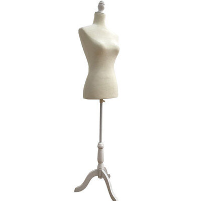 Female Mannequin Torso Dress Display Form W White Tripod Stand White Foam No.36