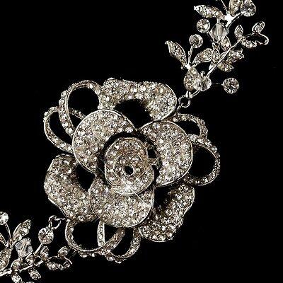 Vintage Rhodium Austrian Crystal Rose Floral Rhinestone Bridal Vine Headpiece